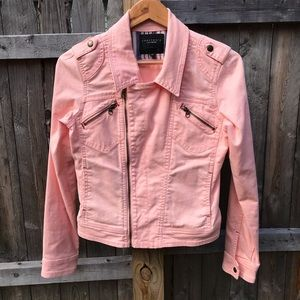 Sanctuary pink moto style denim jacket. Size S